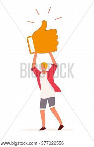 Customer Feedback. Teenager Boy Hold Thumbs-up Social Media Sign. Casual Male Character Standing Iso