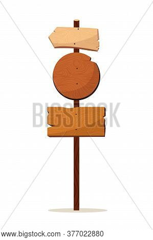 Roadsign Pointer. Vintage Wooden Roadsign Pointer Isolated On White Background. Rustic Sign Icon. Em