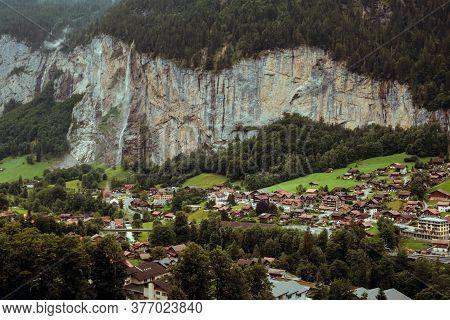 Lauterbrunnen, Bernese Oberland, Switzerland - 31 July 2019 : Beautiful High Angle View On The Laute