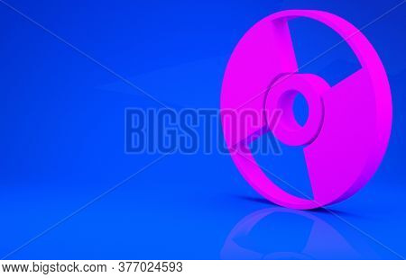 Pink Cd Or Dvd Disk Icon Isolated On Blue Background. Compact Disc Sign. Minimalism Concept. 3d Illu