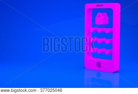 Pink Mobile Phone And Graphic Password Protection Icon Isolated On Blue Background. Security, Person