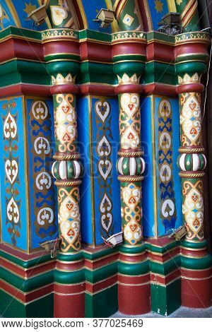 Elements Of The Facade Of A Medieval Building. Colored Balusters Painted Patterns. Architecture Desi