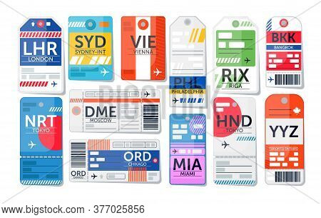 Luggage Tag Set. Isolated Airport Baggage Ticket Label Icon Collection. Travel Luggage Paper Tags Wi