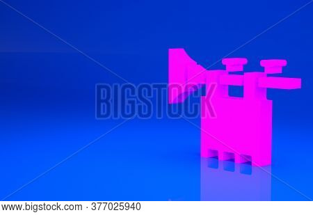 Pink Trumpet With Flag Icon Isolated On Blue Background. Musical Instrument Trumpet. Minimalism Conc