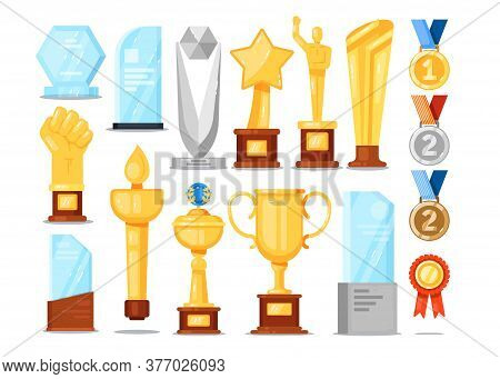 Award Trophy Set. Isolated Gold Cup, Medal, Star, Glass Statuette Victory Prize Collection. Winner C