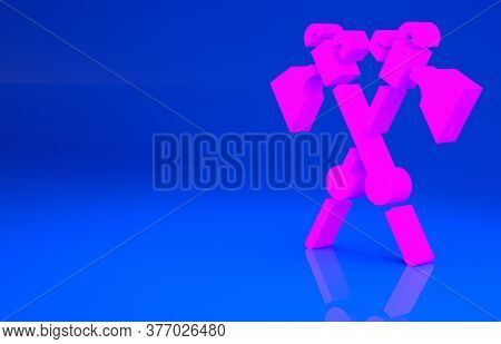 Pink Crossed Medieval Axes Icon Isolated On Blue Background. Battle Axe, Executioner Axe. Medieval W