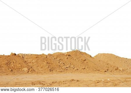 Pile Of Lateritic Soil For Construction Isolated On White Background Included Clipping Path.