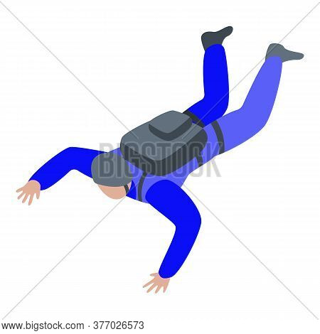 Air Skydiver Fall Icon. Isometric Of Air Skydiver Fall Vector Icon For Web Design Isolated On White