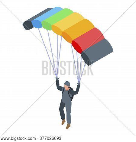 Adrenaline Parachuter Icon. Isometric Of Adrenaline Parachuter Vector Icon For Web Design Isolated O