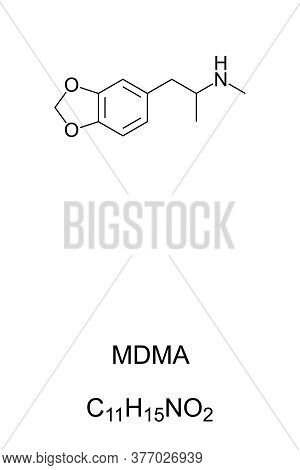 Mdma, Known As Ecstasy, E, Or Molly, Chemical Structure And Formula. Psychoactive Drug Used For Recr