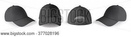 Cap Mockup Set. Isolated Realistic Black Baseball Cap Hat Templates. Front, Back And Angle View Of A