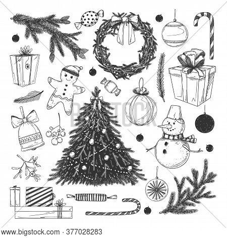 Christmas Sketches Set. Isolated Flat Winter New Year Day Holiday Decoration Icon Collection. Vector