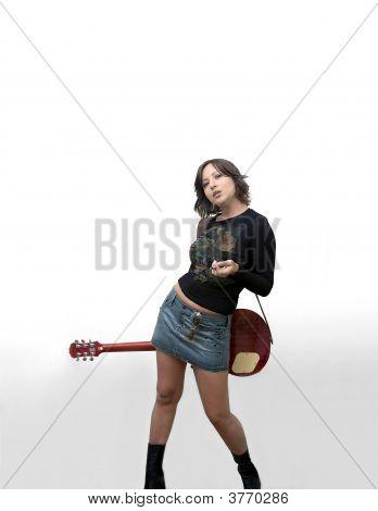 Girl Smoking With Guitar