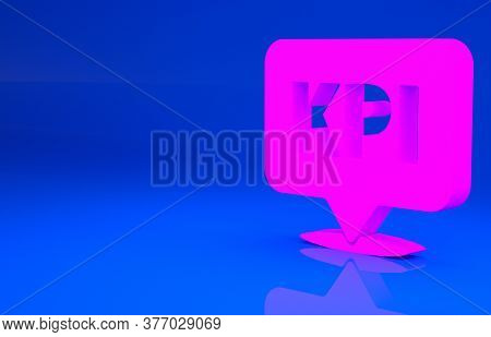 Pink Kpi - Key Performance Indicator Icon Isolated On Blue Background. Minimalism Concept. 3d Illust