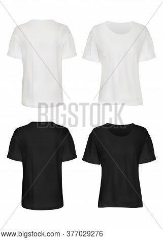 White And Black T-shirt Mockup Set. Isolated Blank Male Short Sleeve T-shirt Clothes Template Set. F