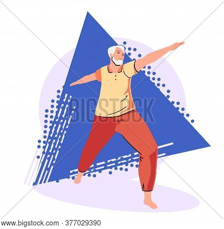 Senior Man Doing Yoga Exercises On Abstract Background. Full Length Of Mature Character In Warrior P