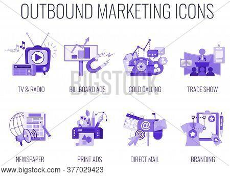 Outbound Infographics Marketing Icons. Traditional Offline Marketing. Monochrome Lilac Color. Tv, Ra