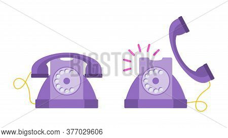 Lilac Retro Telephone. Old Fashioned Phone. Flat Vector Cartoon Illustration.