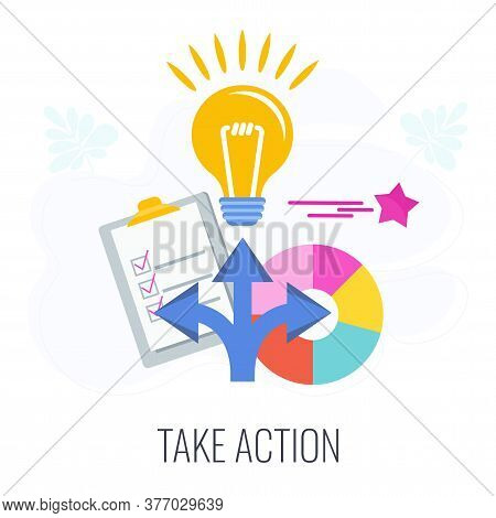 Take Action Icon. Call To Action, Cta. Lamp, Check Sheet, Direction Arrows And Pie Chart. Outbound M