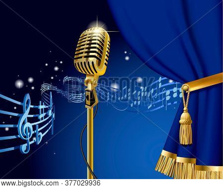 Gold retro microphone on the starry space background with flying Musical notes and blue curtain. Retro music concept design. 3D illustration