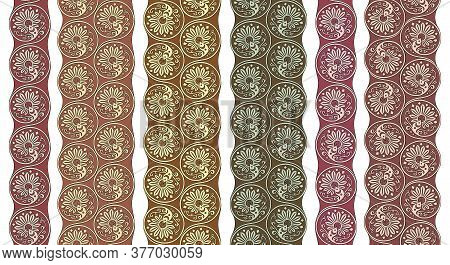 Vector Floral Round Braided Elements Tile Stripes