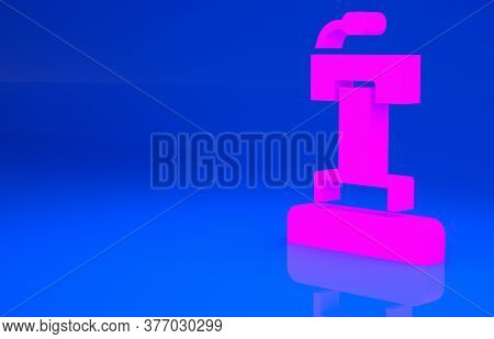 Pink Stage Stand Or Debate Podium Rostrum Icon Isolated On Blue Background. Conference Speech Tribun