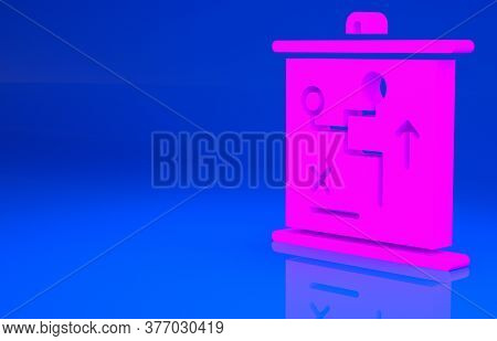 Pink Planning Strategy Concept Icon Isolated On Blue Background. Cup Formation And Tactic. Minimalis