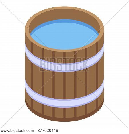 Sauna Water Bucket Icon. Isometric Of Sauna Water Bucket Vector Icon For Web Design Isolated On Whit