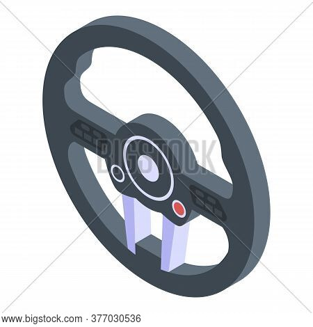 Sport Steering Wheel Icon. Isometric Of Sport Steering Wheel Vector Icon For Web Design Isolated On