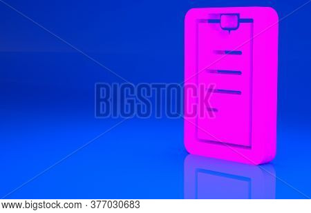Pink Clipboard With Checklist Icon Isolated On Blue Background. Control List Symbol. Survey Poll Or