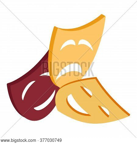 Theatre Mask Icon. Isometric Illustration Of Theatre Mask Vector Icon For Web