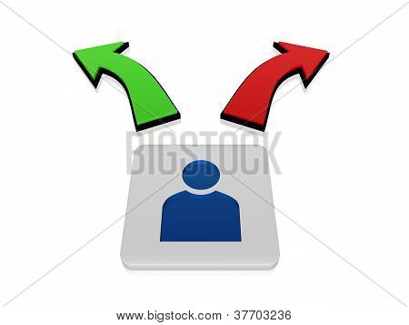 3d person sign in block with green and red arrows in opposite directions poster