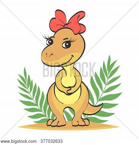Little Beige Cute Dinosaur Girl With A Red Bow On Her Head. The Second Picture With A Contour For Co