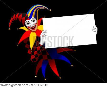 Joker holding a white banner in the hands on a black background. Three Dimensional stylized drawing. 3D illustration