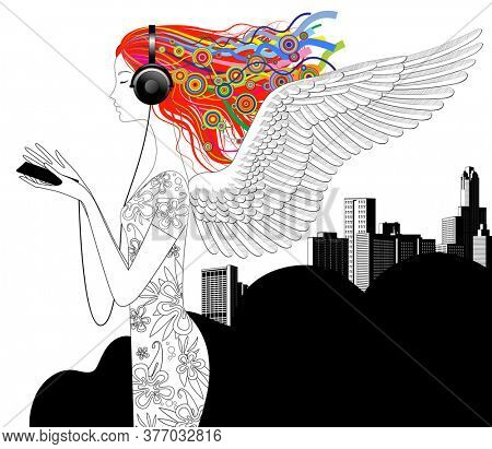Linear drawing of girl with wings and color loose hair listen to music with head-phones and smartphone against the modern city background.