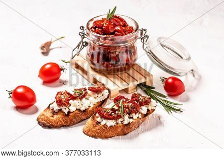 Vegetarian Breakfast Of Champions. Sandwich With Sun Dried Tomatoes And Ricotta Diet Cheese On Toast