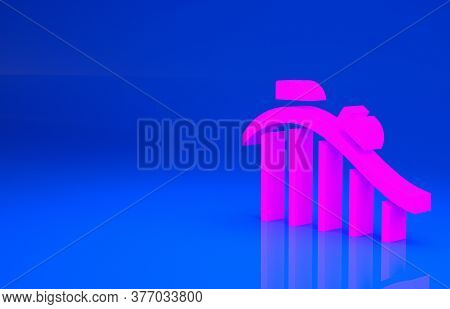 Pink Roller Coaster Icon Isolated On Blue Background. Amusement Park. Childrens Entertainment Playgr
