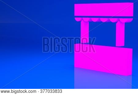 Pink Ticket Box Office Icon Isolated On Blue Background. Ticket Booth For The Sale Of Tickets For At