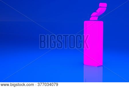 Pink Detonate Dynamite Bomb Stick And Timer Clock Icon Isolated On Blue Background. Time Bomb - Expl
