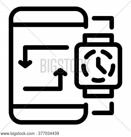 Smartphone Smartwatch Synchronize Icon. Outline Smartphone Smartwatch Synchronize Vector Icon For We