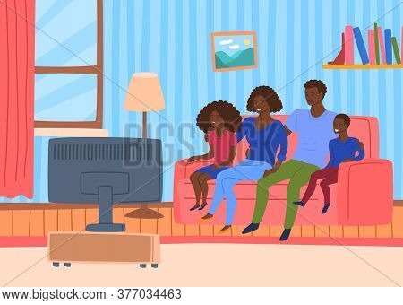 Cartoon Color Characters People Afro American Family Together Watching Tv Concept Flat Design Style.