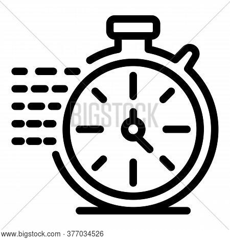 Running Stopwatch Icon. Outline Running Stopwatch Vector Icon For Web Design Isolated On White Backg