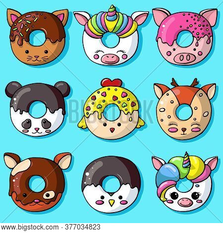 Glazed Cute Doughnut Animals Set. Isolated Donuts With Glaze And Bite, Eaten Chocolate Icing Fritter