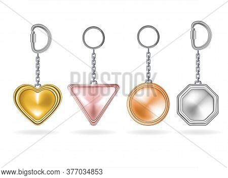 Realistic Detailed 3d Shiny Metal Keychains Set Include Of Circle And Heart Shape. Vector Illustrati