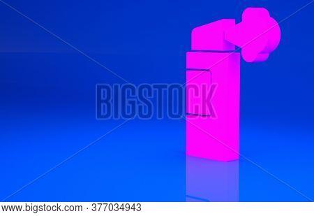 Pink Pepper Spray Icon Isolated On Blue Background. Oc Gas. Capsicum Self Defense Aerosol. Minimalis