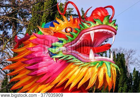 Belgrade / Serbia - February 15, 2020: Chinese Lunar New Year Dragon-shaped Lantern In Belgrade Fort