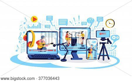 Online Content Creation Flat Concept Vector Illustration. Video Tutorial. Vloggers And Bloggers 2d C