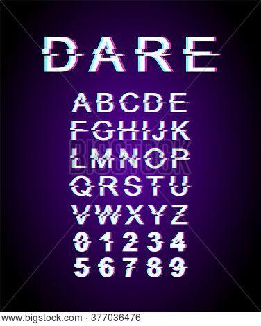 Dare Glitch Font Template. Retro Futuristic Style Vector Alphabet Set On Violet Background. Capital