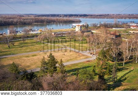 Belgrade / Serbia - February 22, 2020: Lower Kalemegdan Park And Confluence Of Rivers Danube And Sav