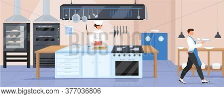 Restaurant Kitchen Flat Color Vector Illustration. Catering Establishment 2d Cartoon Interior Design